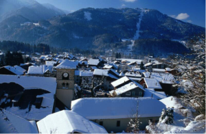 early snow  french alps snowy village